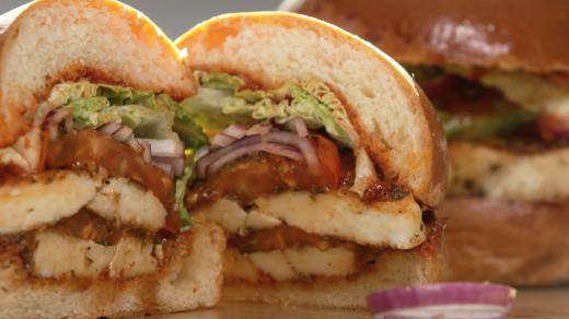 Sabrina Ghayour's halloumi burger with harissa ketchup